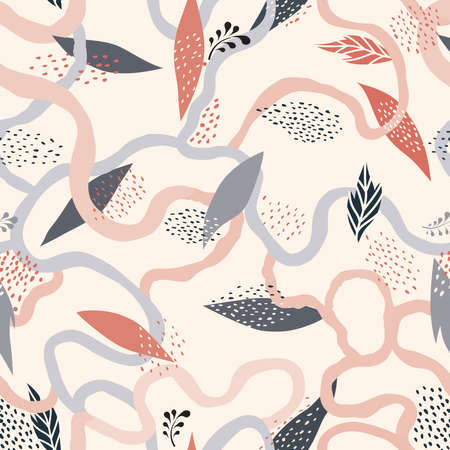Abstract seamless floral pattern with swirl flowing lines and leaves. Ornamental flourish drawn texture. Abstract backdrop with chaotic flowing wriggling lines. Artistic tiled background.