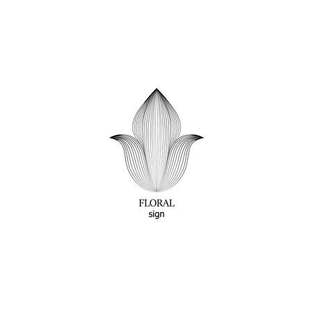Floral  design templates in outline style. Abstract flower icon for monograms and emblems. Floral sign. Flower drawn symbol. 向量圖像