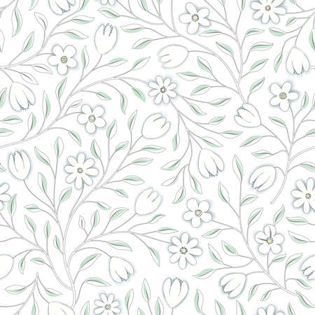 Floral seamless pattern. Flower background. Floral seamless texture with flowers. Flourish tiled white spring wallpaper