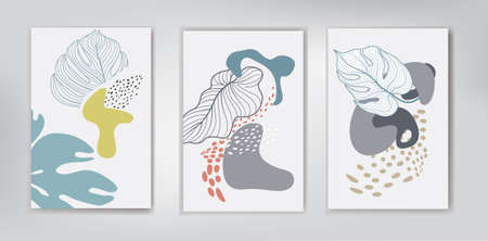 Floral tropical leaves dotted background set. Artistic wall art paint set. Tropical Foliage drawing with abstract leaves shapes. Abstract garden plant design for print, cover, wallpaper. Natural minimal print art illustration 向量圖像