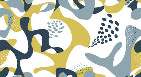 Abstract dotted seamless pattern. Artistic organic shape ornamental drawn texture. Flourish orgnic abstract backdrop with chaotic dots and shapes. Hand drawn background for fabric, gift wrap, wall art design