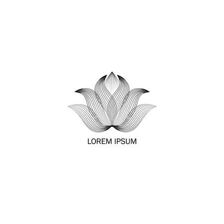 Floral sign. Abstract elegant flower logo icon line art design. Universal creative floral drawn symbol.