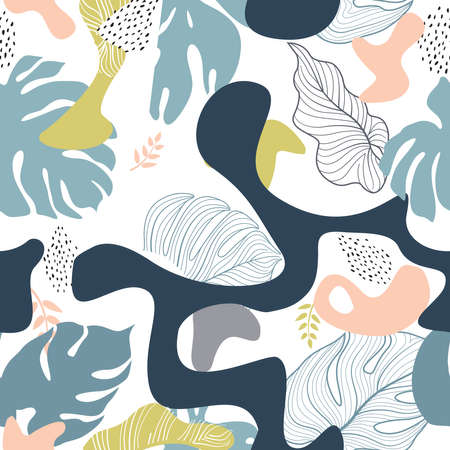 Floral seamless pattern with leaves with abstract organic shape blots and dots over white background