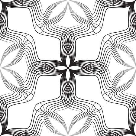 AbstrAbstract retro style arabesque linear seamless pattern. Artistic line art ornament with floral shapes.