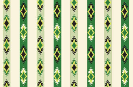 Abstract ethnic ikat seamless pattern. Geometric ornamental stripy print. Wallpaper tribal decor. Traditional  striped orient background. Ethnic stripe motif for wrapping, wallpaper, fabric, textile, embroidery 向量圖像