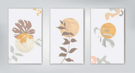 Floral leaves background set. Artistic wall art set. Tropical Foliage line artistic drawing with abstract leaves shapes. Abstract garden plant design for print, cover, wallpape. Natural minimal print art illustration