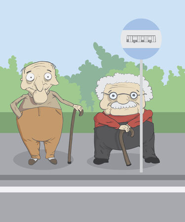 Old men waiting for a bus