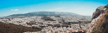 panorama of athena at greece with blue sky Imagens