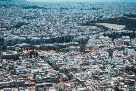 Birds eye view over part of Greece showing wide expanse with modern and historical buildings Imagens