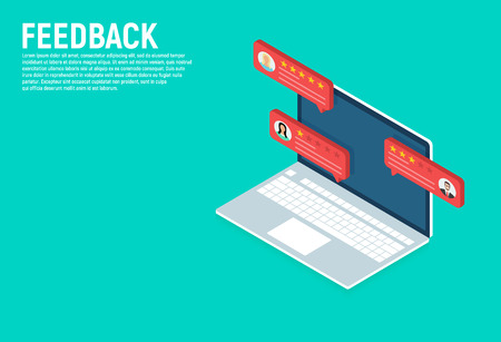 Feedback. Isometric Laptop with customer review rating messages. Online reviews or client testimonials, concept of experience or feedback Stock Illustratie