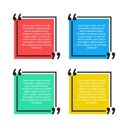 Quote text bubble. Commas, quote, note, message and comment vector illustration Design element