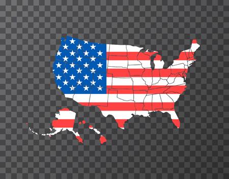 Carte Usa similaire vierge isolée sur fond blanc. Pays des États-Unis d'Amérique. Modèle vectoriel pour site Web, conception, couverture, infographie. Illustration graphique