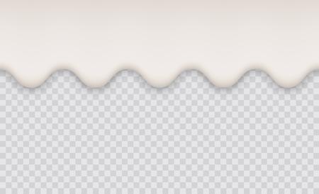 Yogurt creamy liquid or milk melt splash flowing background. White milk splash or ice cream flow soft texture on transparent background Illustration