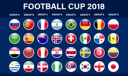 Fútbol 2018, clasificación de Europa, todos los grupos ilustración vectorial