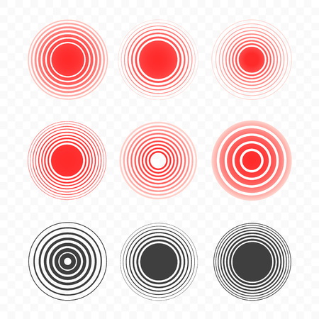 Pain circle set of bold and thin red ring. Symbol of pain. For your medical design. Vector illustration. Vector illustration isolated on background