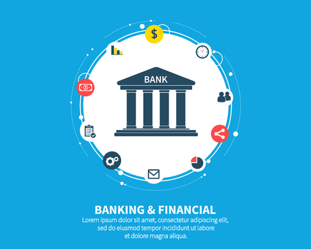Banking and financial mechanism. Abstract background with connected gears and integrated flat icons. symbols for money, card, bank, business and finance concepts. Vector interactive illustration