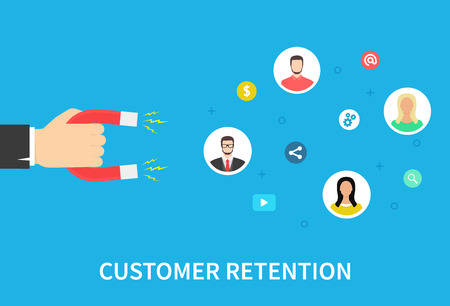 Customer retention strategy, attract customers, customer support and service, digital marketing, flat vector banner infographics with icons. Vector illustration