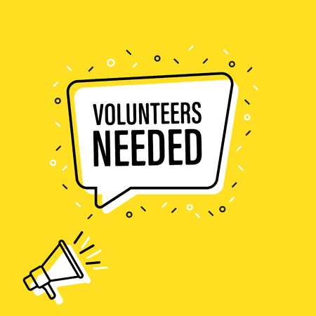 Männliche Hand, die Megaphon mit Freiwilligen hält, benötigte Sprechblase. Lautsprecher. Banner für Business, Marketing und Werbung. Vektor-Illustration.