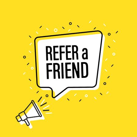 Male hand holding megaphone with refer a friend speech bubble. Loudspeaker. Banner for business, marketing and advertising. Vector illustration