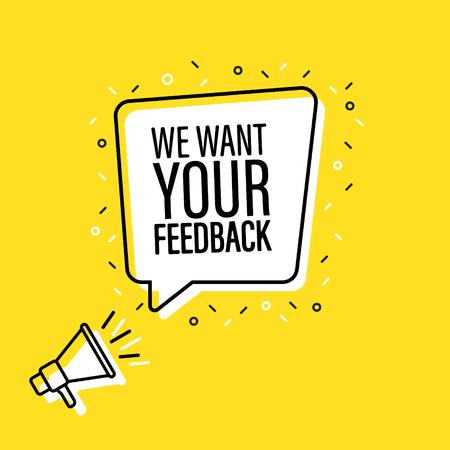 Mannenhand met megafoon met We willen uw feedback tekstballon. Luidspreker. Banner voor zaken, marketing en reclame. vector illustratie