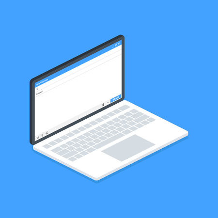 Isometric laptop Email message Blank window of E-mail, template. E-mail blank template internet mail frame interface for mail message. User interface web panel send.