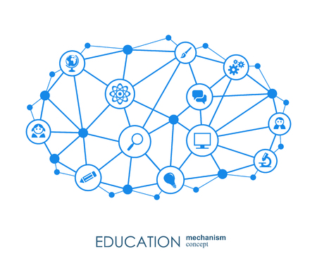 Education network. Hexagon abstract background with lines, polygons, and integrate flat icons. Connected symbols for elearning, knowledge, learn and global concepts. Vector interactive illustration Banque d'images - 110532991