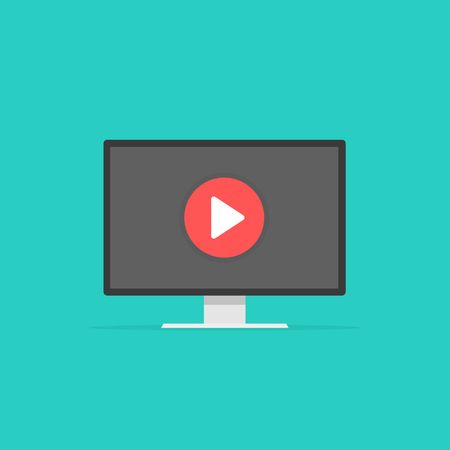 Computer watching video player, concept of webinar, business online training, education on computer, e-learning concept, video tutorial. Vector illustration background 向量圖像