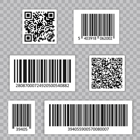 Bar Code Set Vector. Qr cide. Universal Product Scan Code.