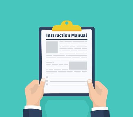 Man hold instruction manual. Checklist Holding the clipboard. Paperwork, sheets in folder. Vector illustration