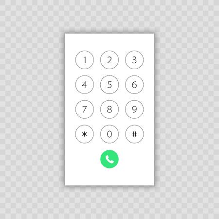 Clavier avec numéros pour téléphone. Clavier d'interface utilisateur pour smartphone. Modèle d'illustration vectorielle