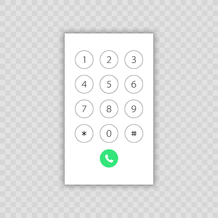 Keypad with numbers for phone. User interface keypad for smartphone. Vector illustration template