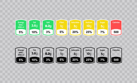 Nutrition Facts information label for box. Daily value ingredient calories, cholesterol and fats in grams and percent. Flat design, vector illustration on background.