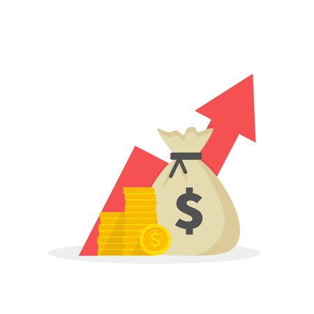 Einkommenssteigerungsstrategie, finanzielle hohe Kapitalrendite, Mittelbeschaffung, Umsatzwachstum, Zinssatz, Kreditrate, Kreditgeld, Haushaltssaldo. Flaches Design Vektorgrafik