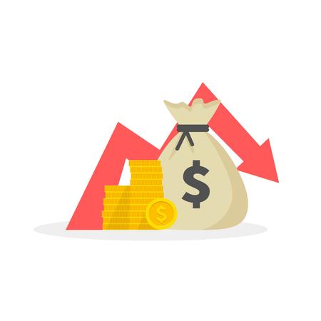 Geldverlust, Abwärtspfeil Aktiendiagramm, Konzept der Finanzkrise, Marktsturz. Vektor-Illustration