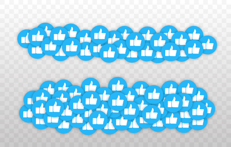 Like and Heart icon. Live stream video, chat, likes. Social nets blue thumb up like and red heart web buttons isolated on white background. Vector illustaration.  イラスト・ベクター素材