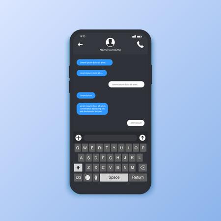 Chat interface. Sms messages. Speech bubbles. Short message service bubbles. Flat interface Vector illustration Vector Illustratie