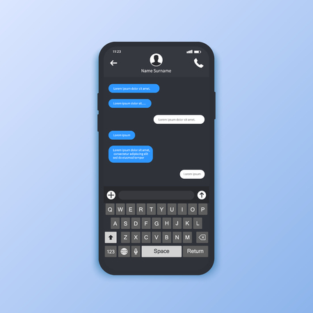 Interfaccia chat. Messaggi SMS. Fumetti. Bolle di servizio per messaggi brevi. Interfaccia piatta illustrazione vettoriale Vettoriali