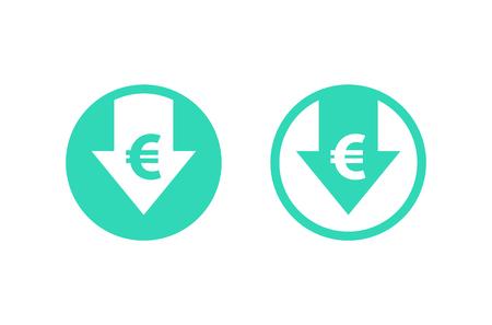 Kostenreductie pictogram. Euro. Afbeelding geïsoleerd op een witte achtergrond. Vector illustratie.