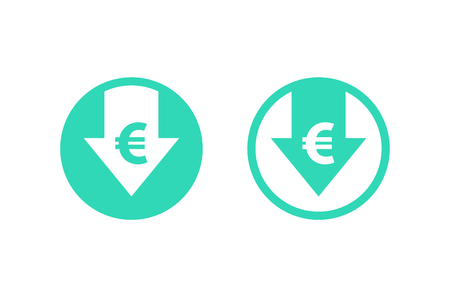 Cost reduction icon. Euro. Image isolated on white background. Vector illustration.