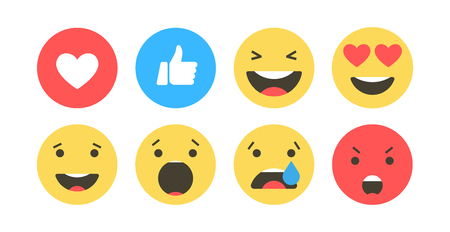 Set of emoji icons. Funny faces with different emotions. Emoji flat style icons on white background. Social media reactions Vector illustration
