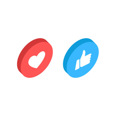 Thumbs up and heart icon isometric on a white background. Empathetic Emoji Reactions, printed on paper. Vector social media Illustration icon