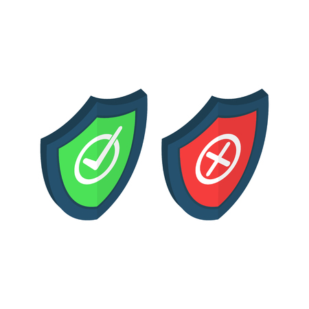 Shields and check marks icons isometric set. Red and green shield with checkmark and x mark. Protect sensitive data, Internet security, reliability concepts. Vector illustration on background