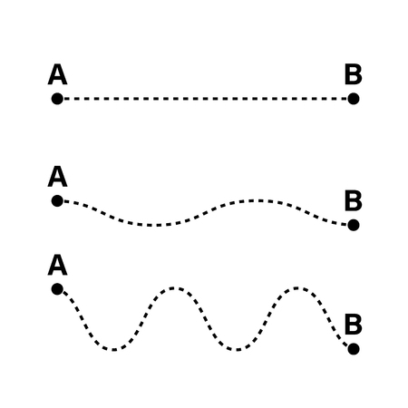 Checking point A to point B. Straight and tangled lines. Vector illustaration