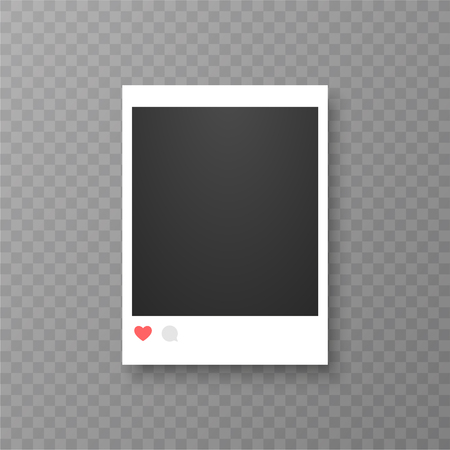 Retro realistic vector photo frame or social media template. Placed on transparent background vector illustration