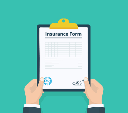 Man hold Insurance form clipboard with checklist. Questionnaire, survey, clipboard, task list. Flat design, vector illustration on background