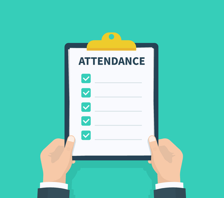 Man hold Attendance clipboard with checklist. Questionnaire, survey, clipboard, task list. Flat design, vector illustration on background
