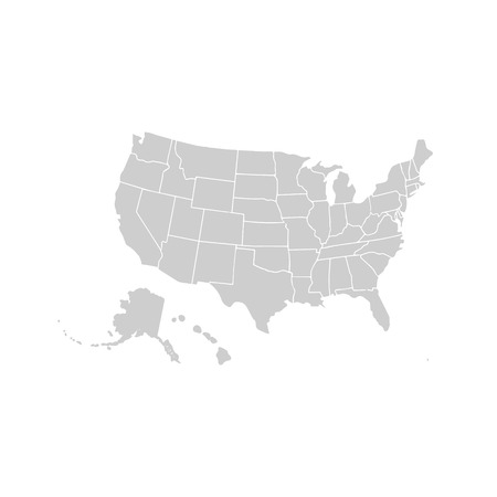 Blank similar USA map isolated on white background. United States of America country. Vector template for website, design, cover, infographics. Graph illustration. Illustration