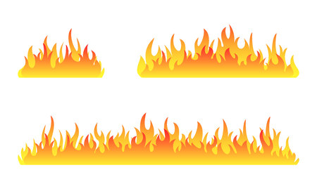 Fire collection. Fire flames vector set. Set of fire banner. Vector illustration