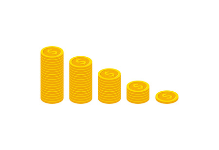 Income increase strategy, isometric Financial high return on investment, fund raising, revenue growth, interest rate, loan installment, credit money, budget balance. Vector illustration on background
