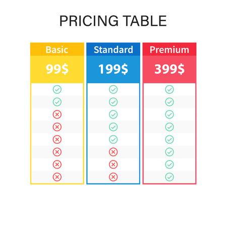 Preistabelle oder Pläne. Web-Preistabellendesign für Unternehmen. Vektor-Illustration